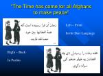 the time has come for all afghans to make peace