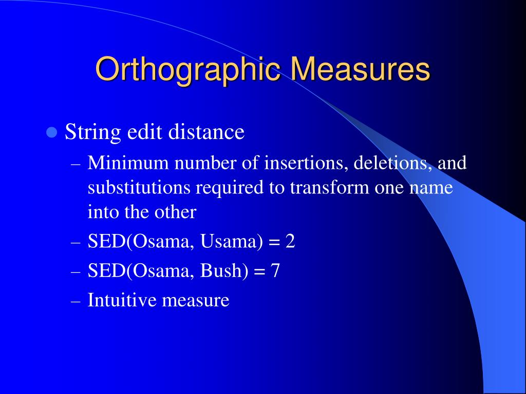 Orthographic Measures