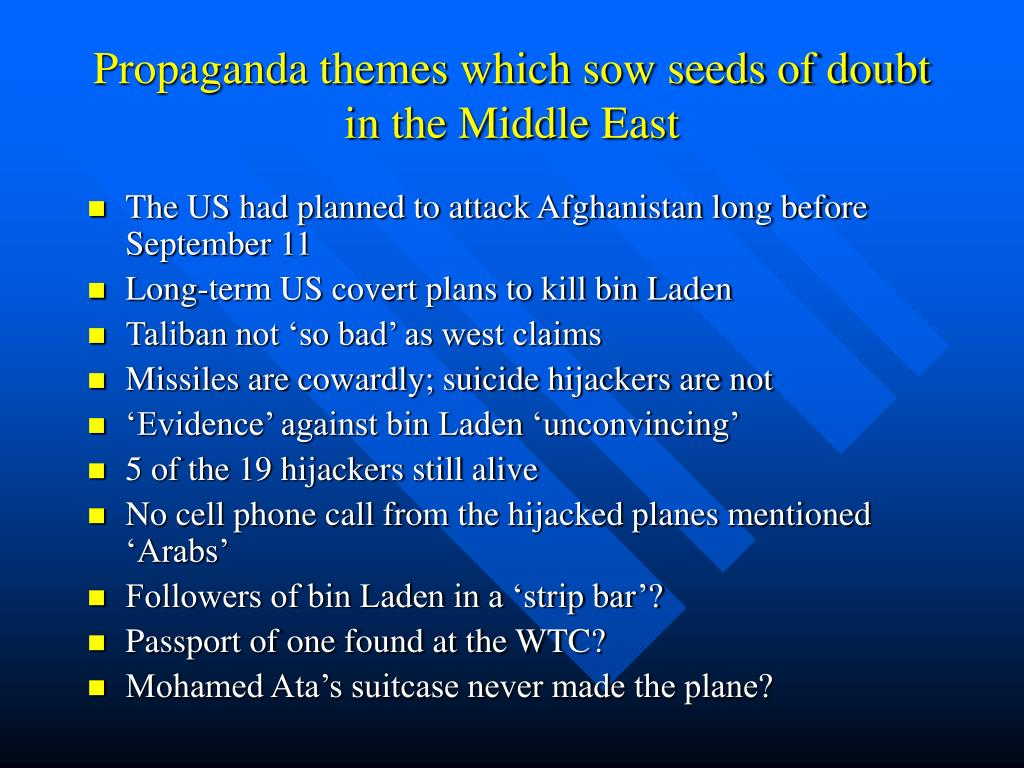 Propaganda themes which sow seeds of doubt in the Middle East