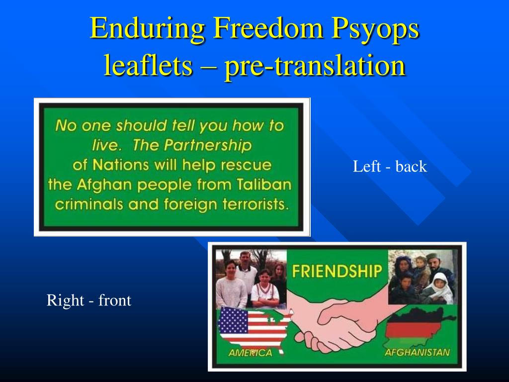 Enduring Freedom Psyops leaflets – pre-translation