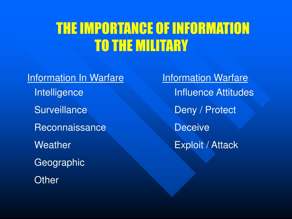 THE IMPORTANCE OF INFORMATION TO THE MILITARY