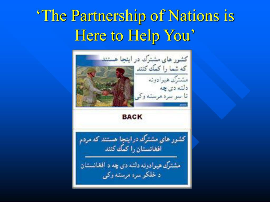 'The Partnership of Nations is Here to Help You'