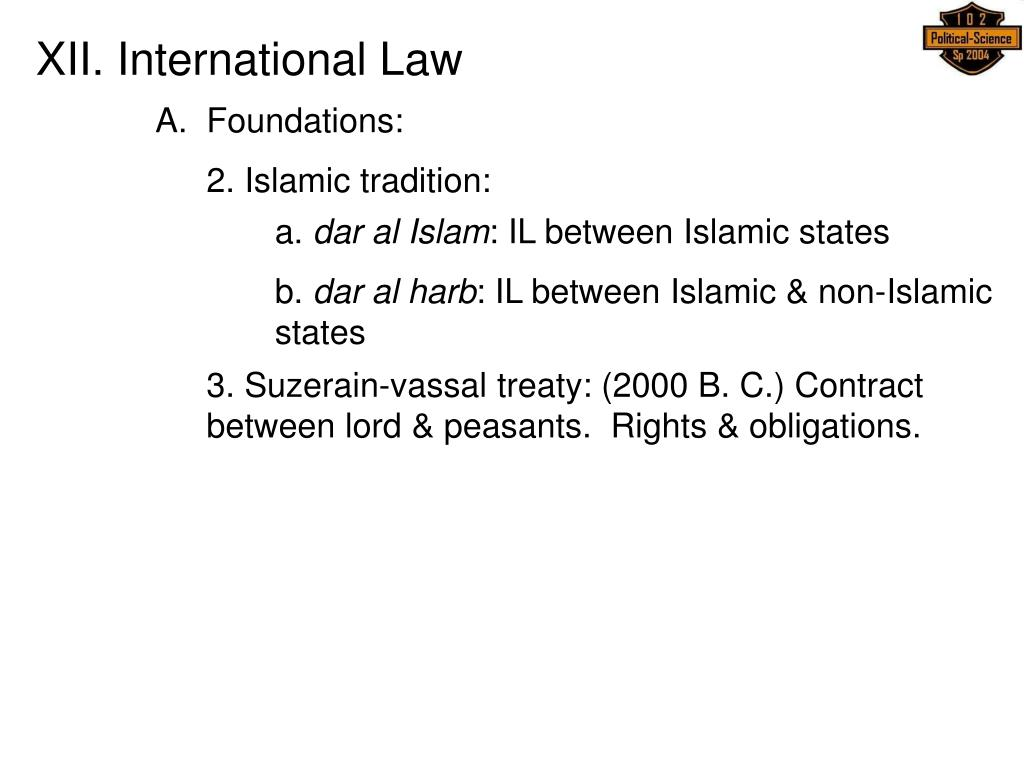 XII. International Law