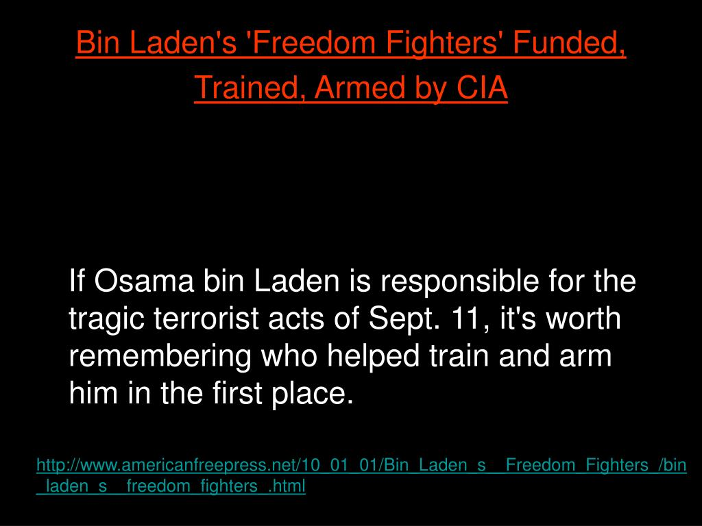 Bin Laden's 'Freedom Fighters' Funded, Trained, Armed by CIA