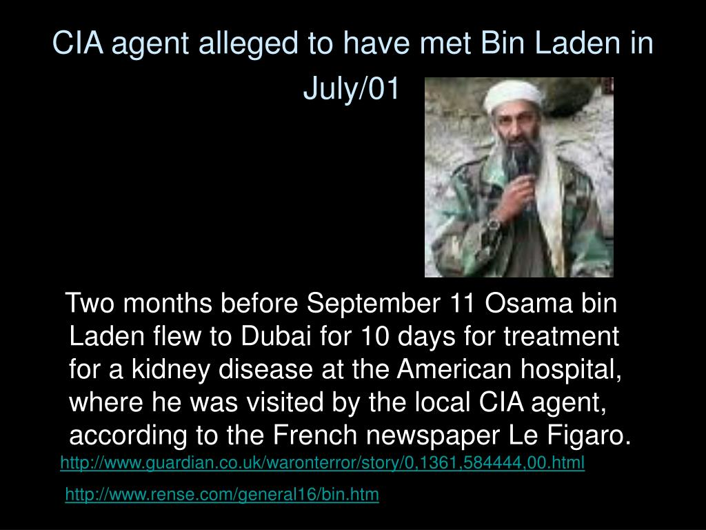 CIA agent alleged to have met Bin Laden in July/01
