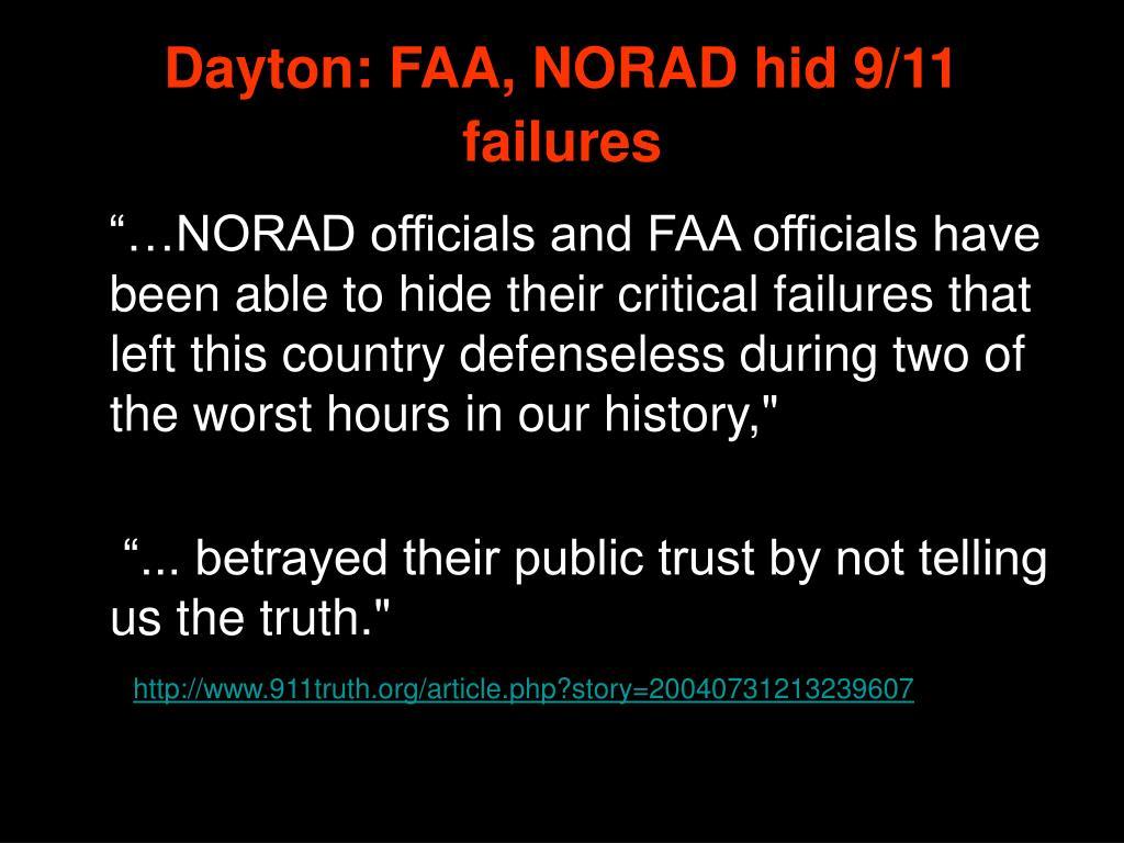 Dayton: FAA, NORAD hid 9/11 failures