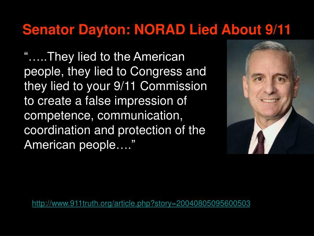 Senator Dayton: NORAD Lied About 9/11