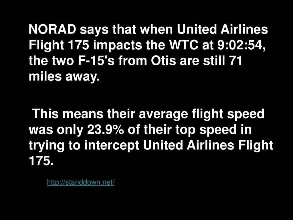 NORAD says that when United Airlines Flight 175 impacts the WTC at 9:02:54, the two F-15's from Otis are still 71 miles away.
