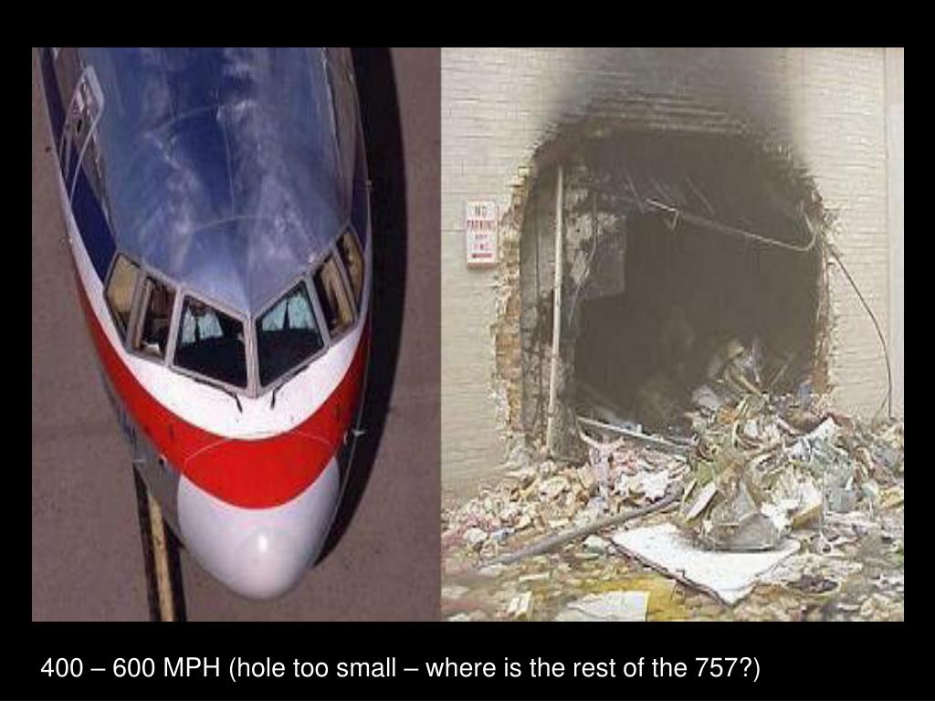 400 – 600 MPH (hole too small – where is the rest of the 757?)