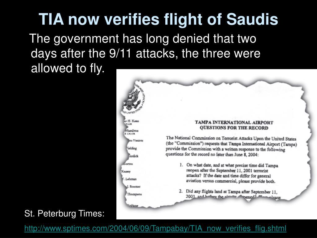 TIA now verifies flight of Saudis