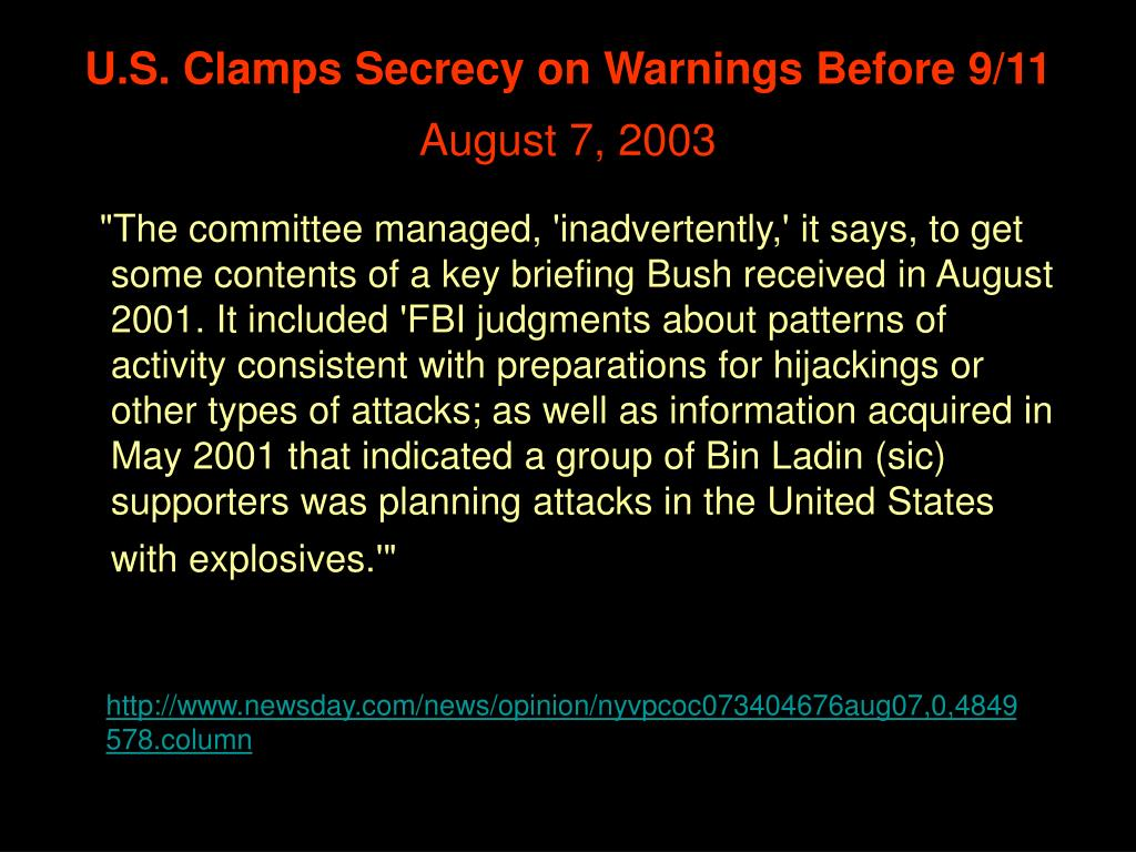 U.S. Clamps Secrecy on Warnings Before 9/11