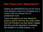 was there a 9 11 stand down