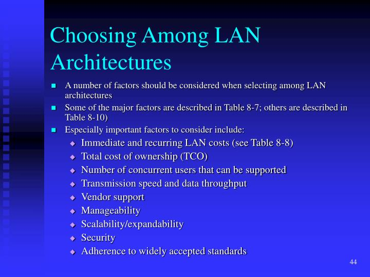 Choosing Among LAN Architectures