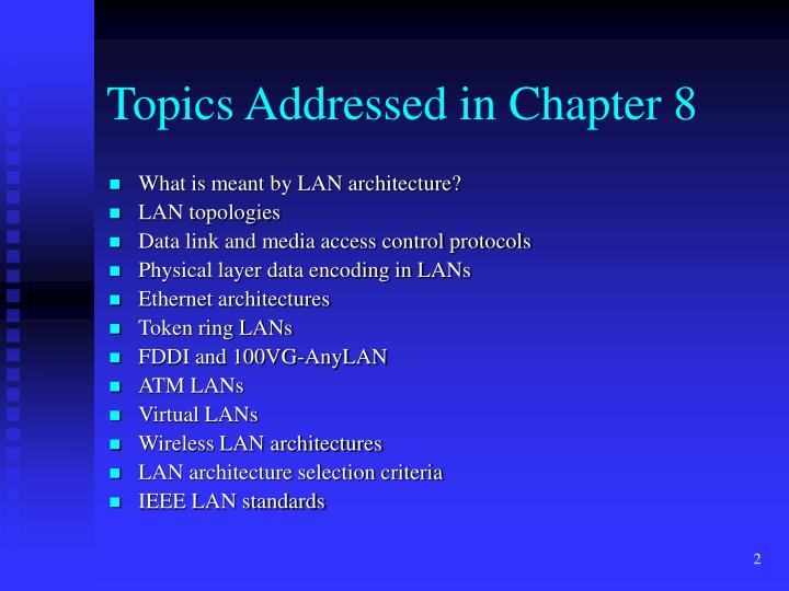 Topics addressed in chapter 8