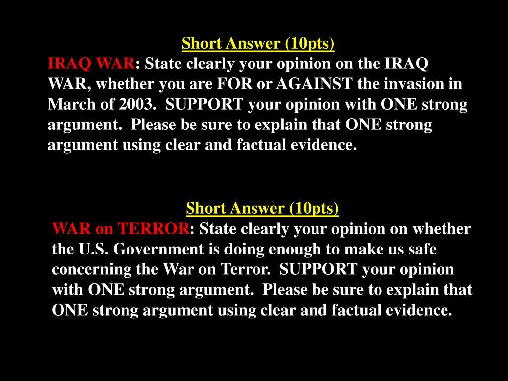 Short Answer (10pts)