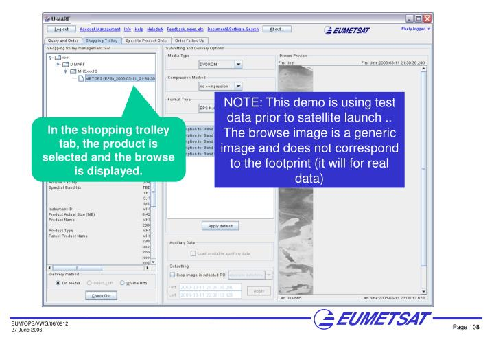 NOTE: This demo is using test data prior to satellite launch .. The browse image is a generic image and does not correspond to the footprint (it will for real data)