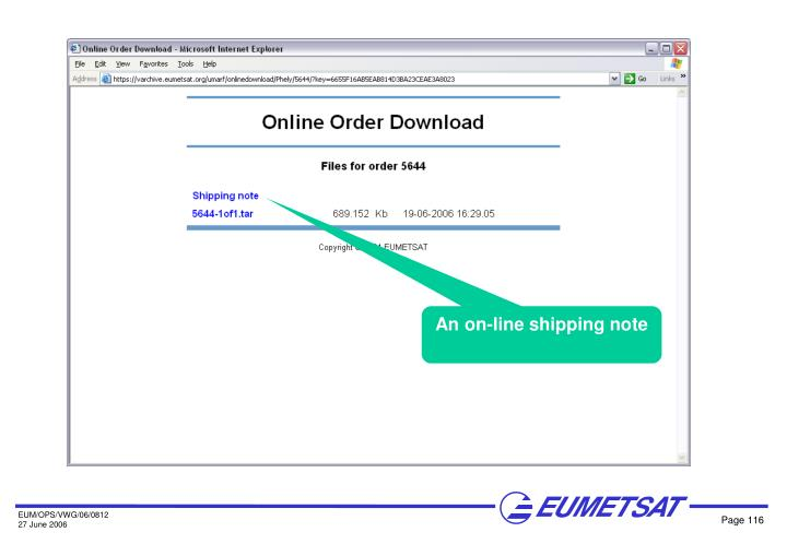 An on-line shipping note