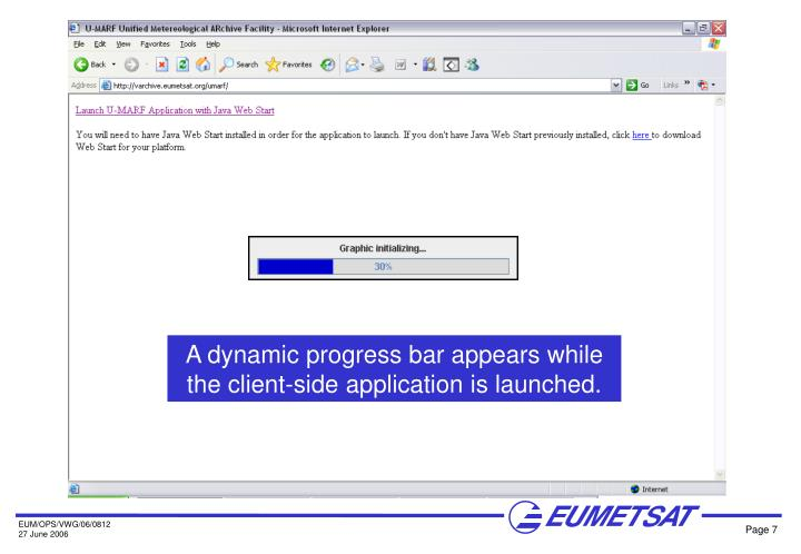 A dynamic progress bar appears while the client-side application is launched.