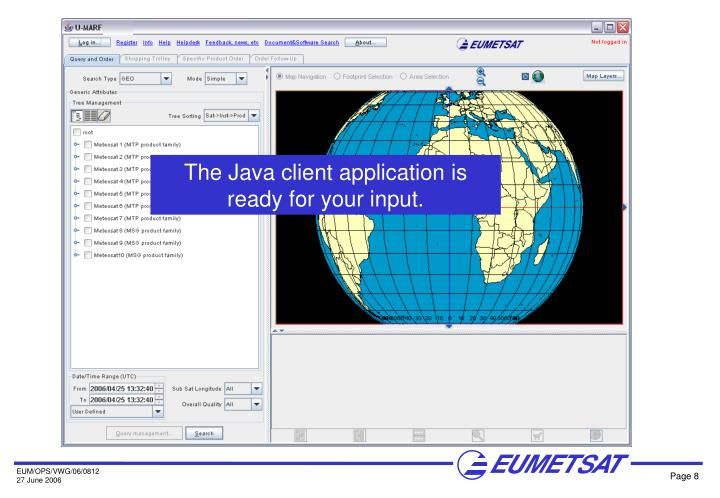 The Java client application is ready for your input.