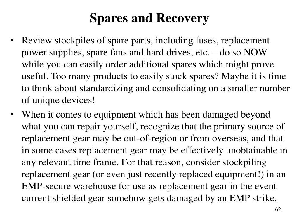 Spares and Recovery
