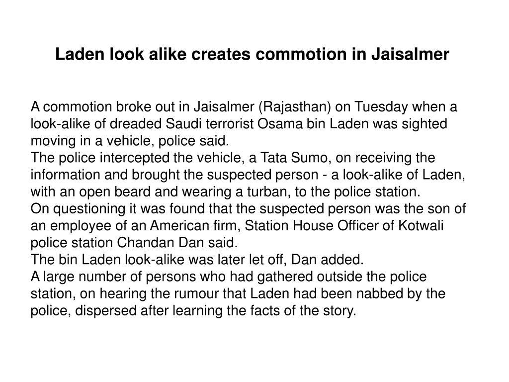 Laden look alike creates commotion in Jaisalmer
