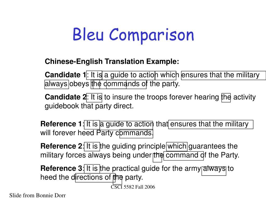 Bleu Comparison