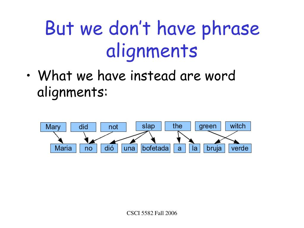 But we don't have phrase alignments