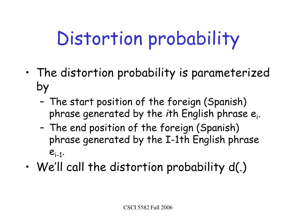 Distortion probability