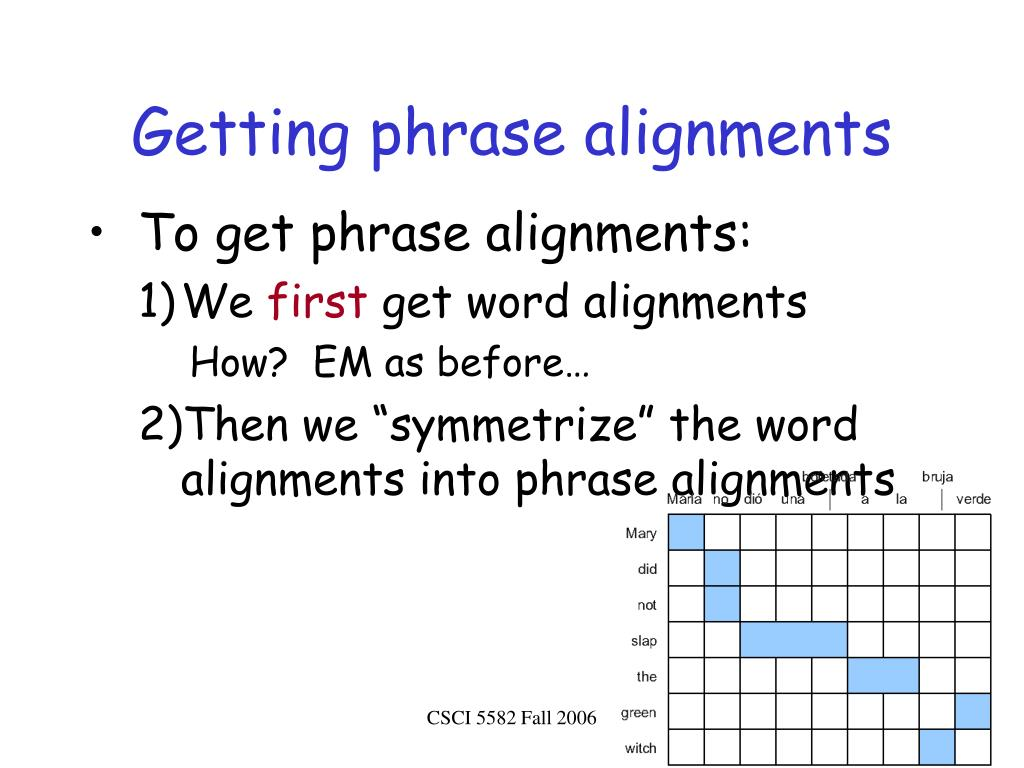 Getting phrase alignments