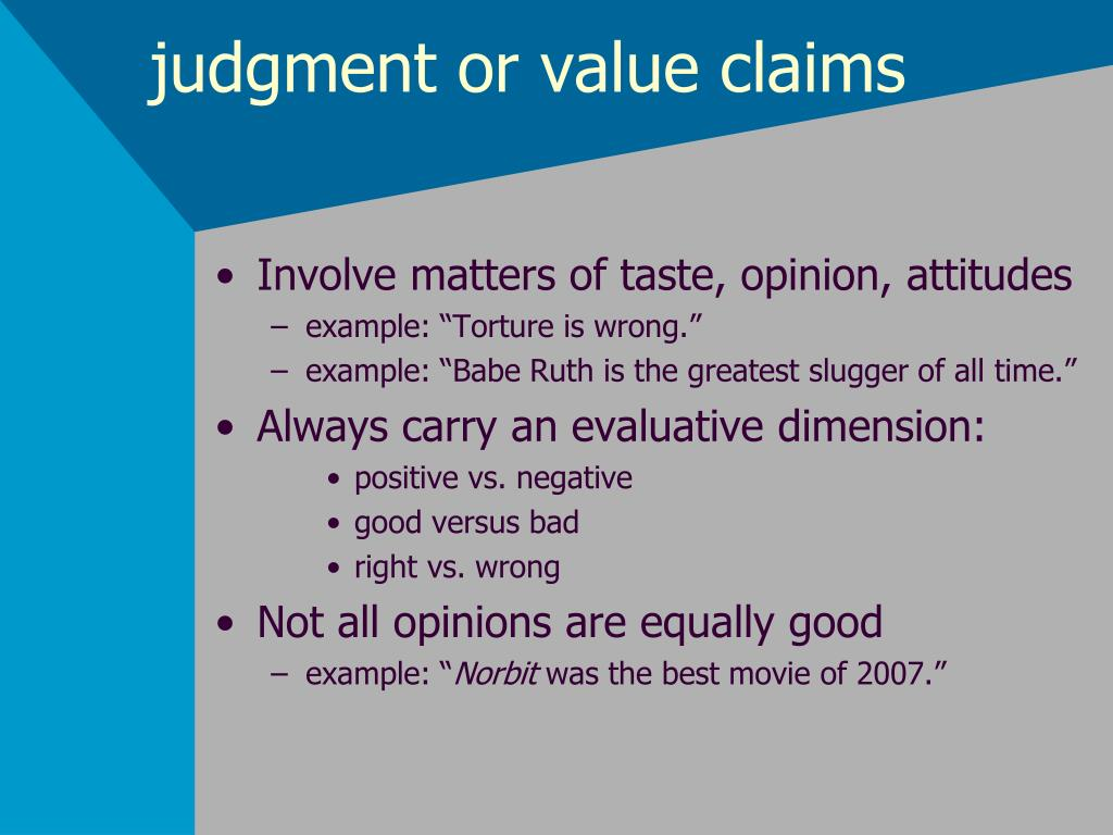 judgment or value claims
