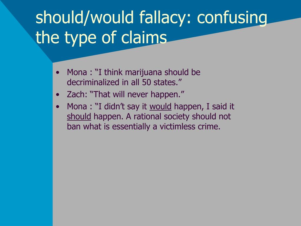 should/would fallacy: confusing the type of claims
