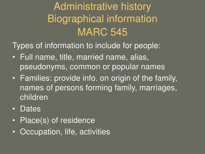 Administrative history