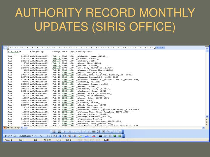 AUTHORITY RECORD MONTHLY UPDATES (SIRIS OFFICE)