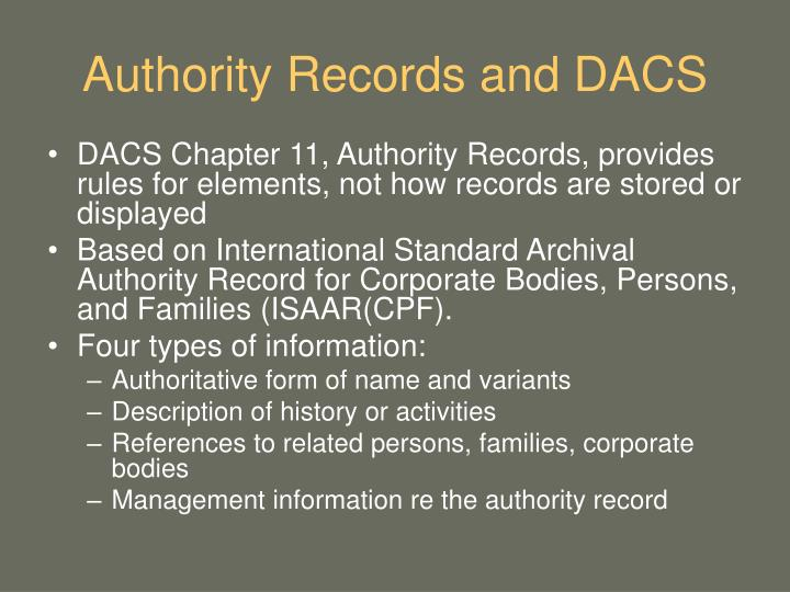 Authority Records and DACS
