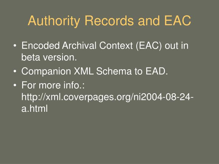 Authority Records and EAC