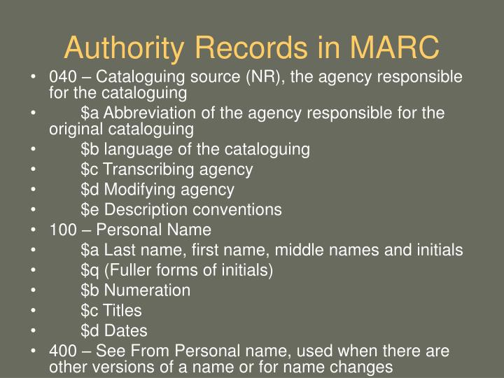 Authority Records in MARC