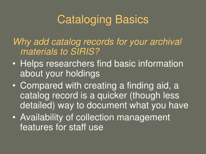 Cataloging Basics