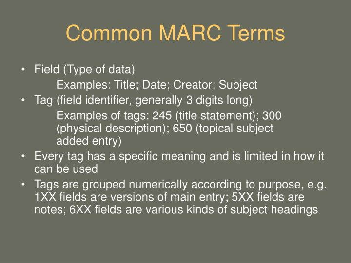 Common MARC Terms