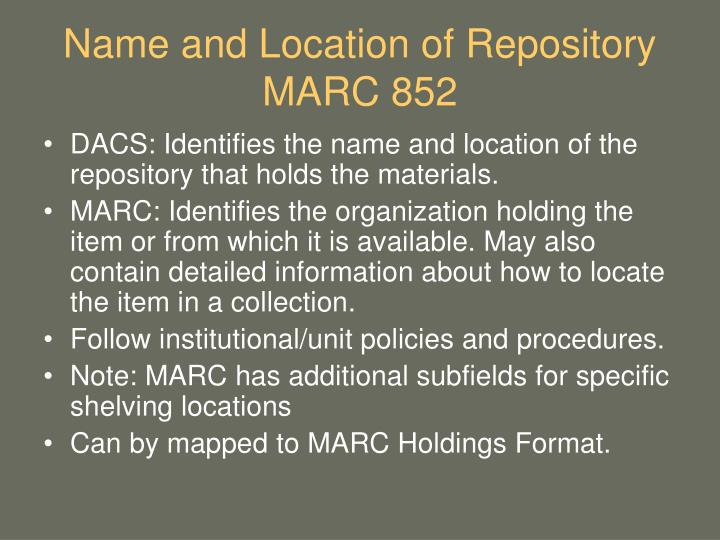 Name and Location of Repository