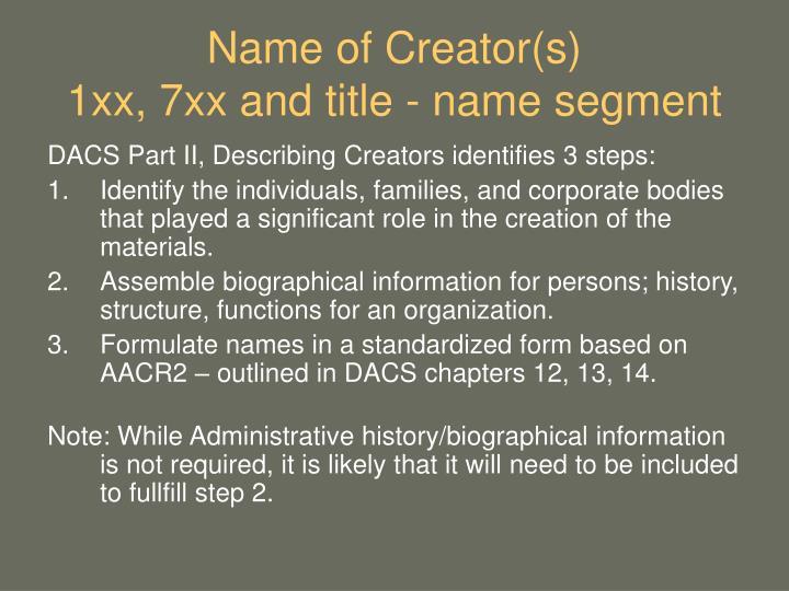 Name of Creator(s)