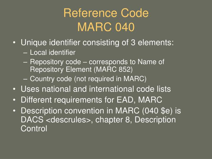 Reference Code