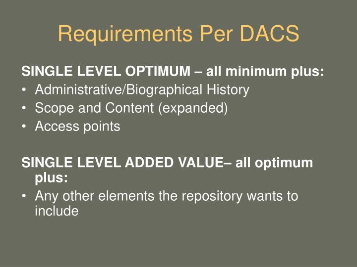Requirements Per DACS
