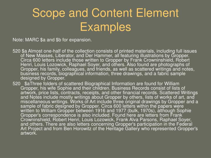 Scope and Content Element