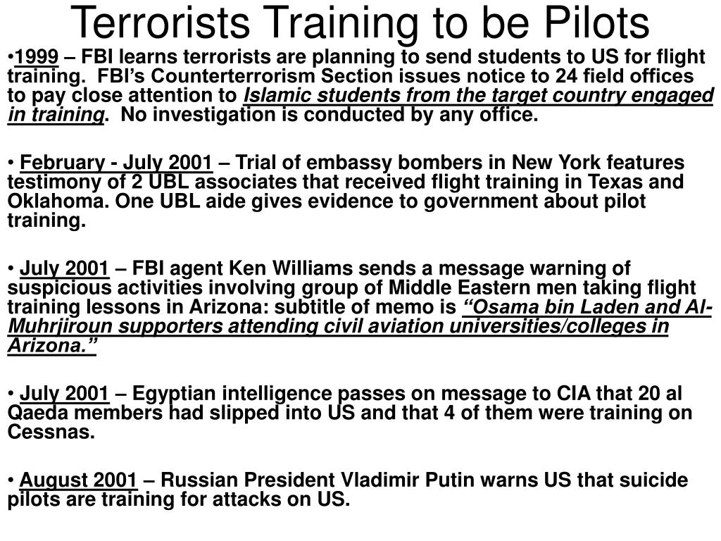 Terrorists Training to be Pilots