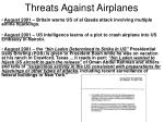 threats against airplanes14