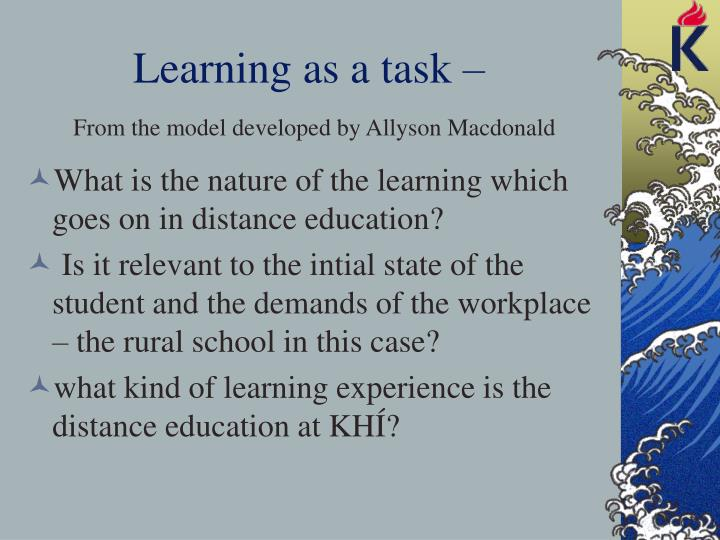 Learning as a task –