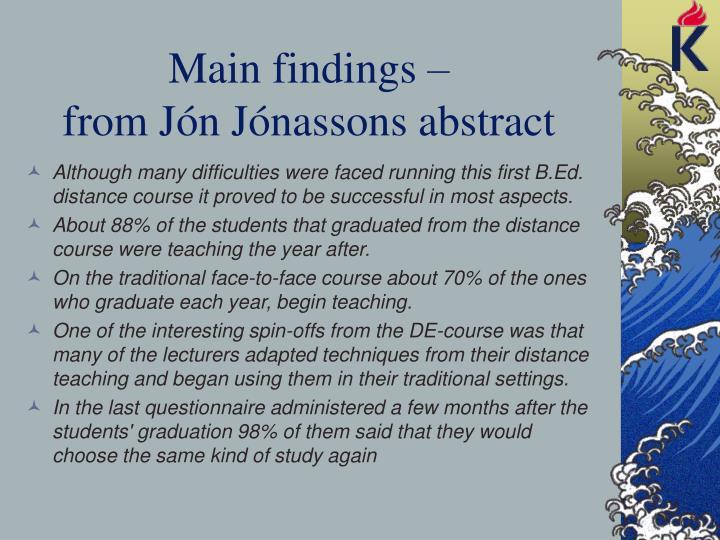 Main findings –