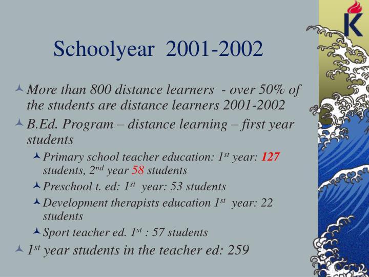 Schoolyear  2001-2002