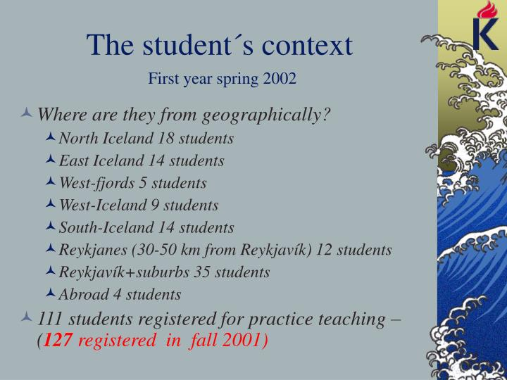 The student´s context