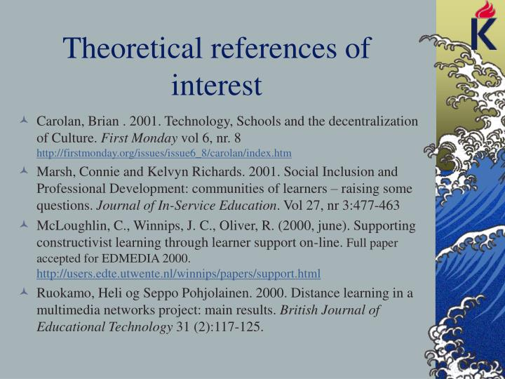 Theoretical references of interest